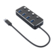 Trade assurance supplier Individual power switches 4 ports usb 3.0 hub with led lights