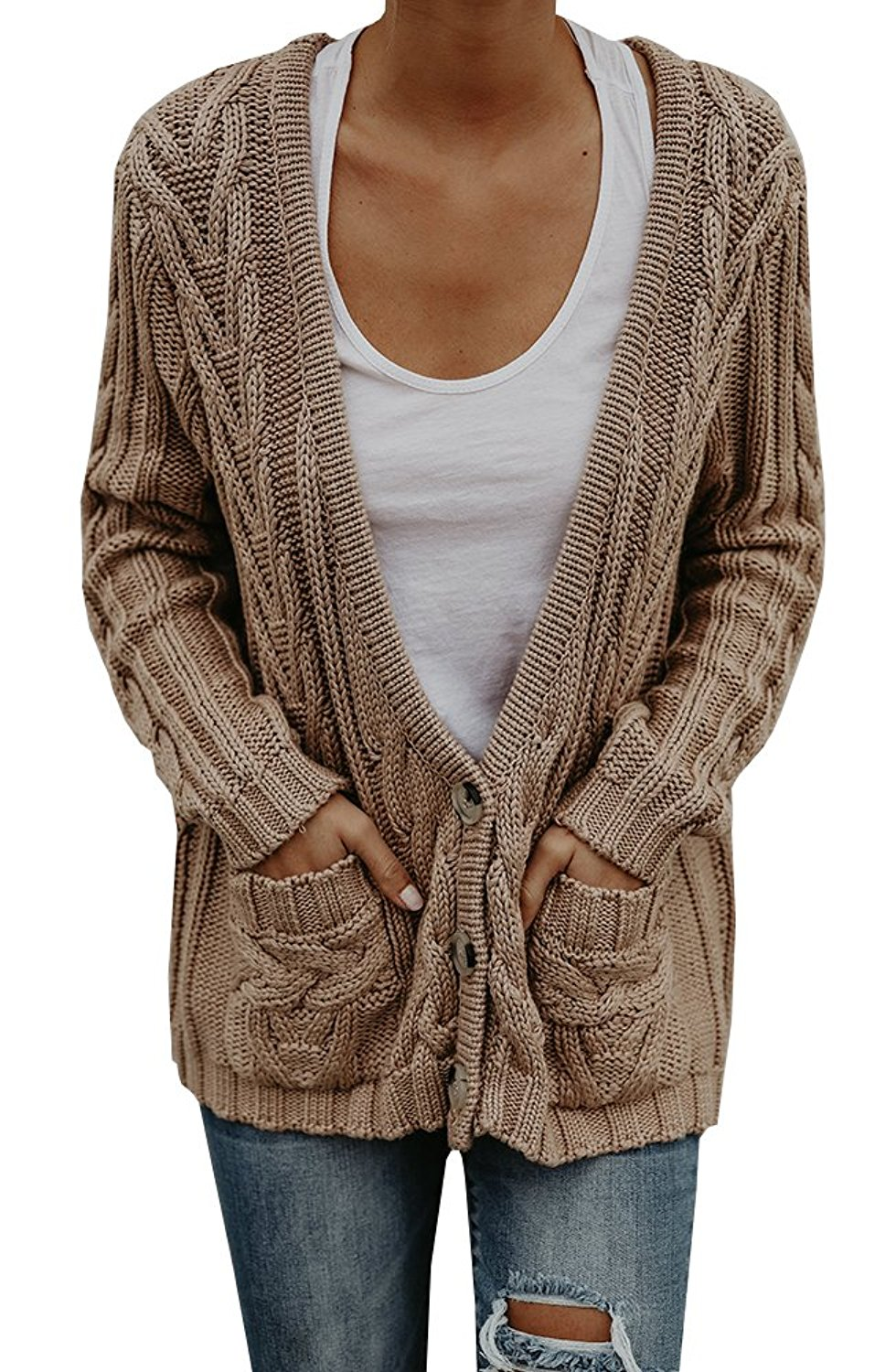 Faisean Womens Oversized Fall Long Cable Knit Button Down Grandad Cardigan Sweaters