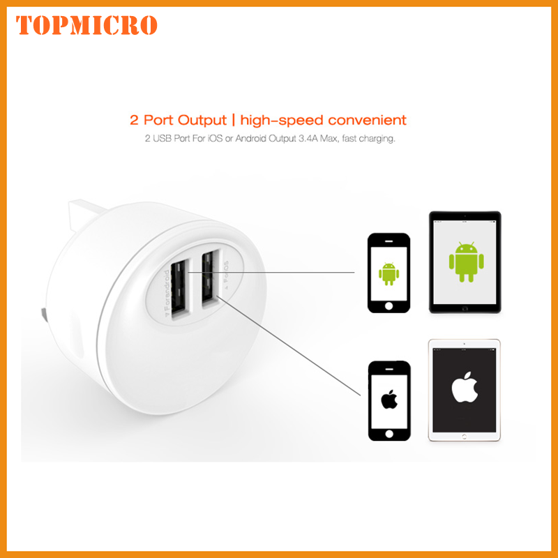 MINI UK Plug Travel Adapter With 2 Dual USB Ports for iphone Smart Phone Wall Charger