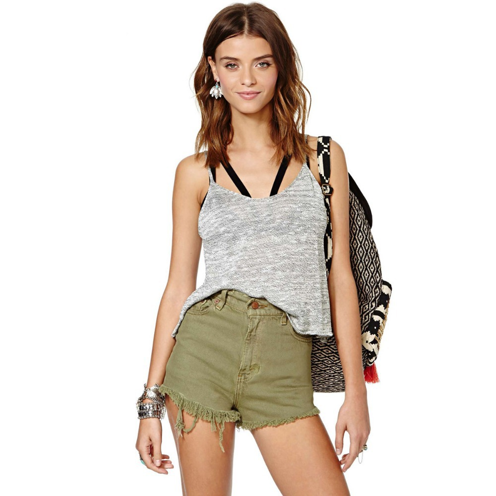 be56a4058a93 Get Quotations · New2015 Women Retro Denim Shorts Ladies Sexy Vintage Hole Casual  Denim Shorts Female Shorts Army Green