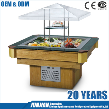 Restaurant square type electrical commercial salad bar / restaurant equipment