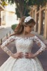 See Through Embroidered Fabric Beaded Lace Appliqued Cathedral Train Said Mhamad Princess Wedding Dress