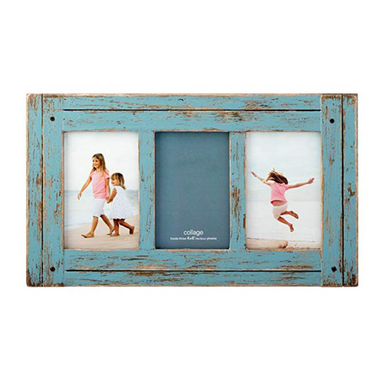 3 Opening rustic distressed <strong>vintage</strong> wood photo picture collage <strong>frame</strong>