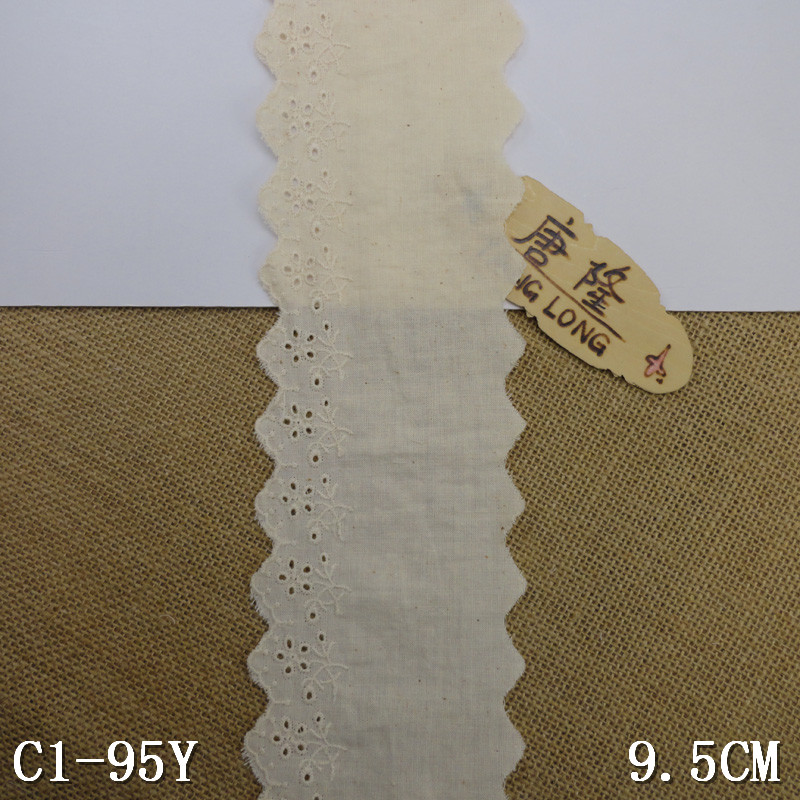 China wholesale in stock 9.5CM ivory 100% cotton lace trimming for garment