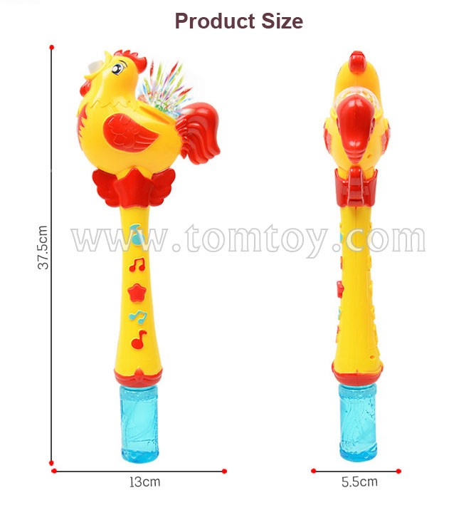 Tomtoy Rooster LED Bubble Wand Light Up Colorful Bubble Wand