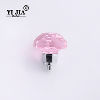 zinc alloy pink color modern kitchen cabinets crystal pull knobs