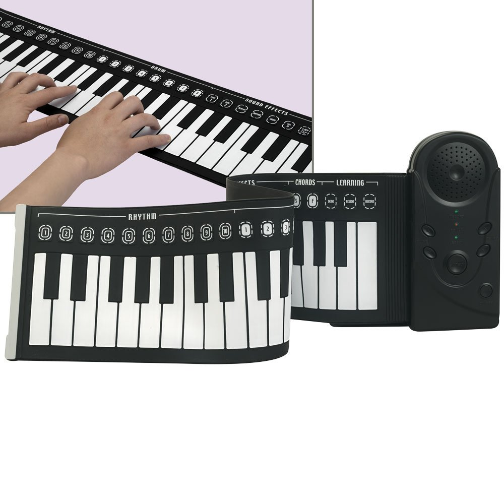 Bits and Pieces - 49 Key Rollup Piano Instrument - Portable Playback Piano Includes Speaker