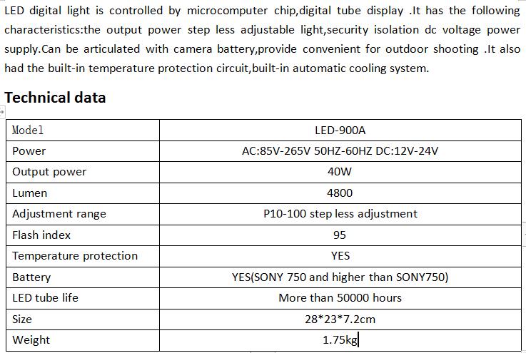 LED-900A digital video studio lights
