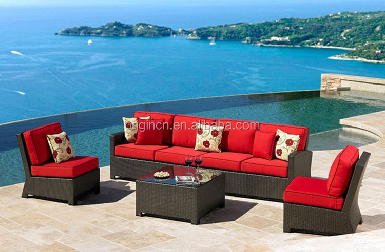 Red cushioned living room outdoor relaxing centre and corner sections 4 seater sofa