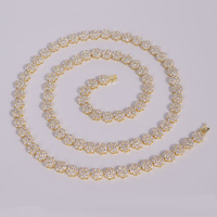 newest design gold plated tennis chain necklace crystal cz flower chain necklace