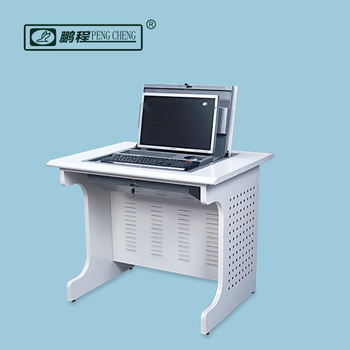 Hide Away Metal Safety Box Lcd Monitor Rolled Flip Up Computer Desk Furniture