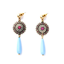 Drop Earrings Blue Crystal Vintage Flower Disk Jewel For Women