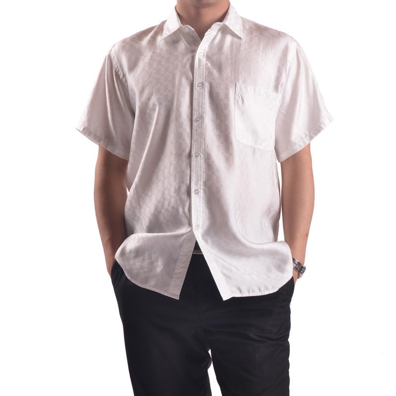 9c649fb1d7b7e Male Short-sleeves Silk White Shirt Fashion Simple And Elegant Brief Top  Grade Quality Mulberry