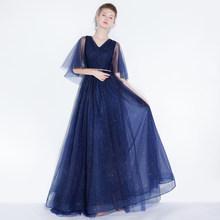 Женское платье SSYFashion, синее простое вечернее платье до пола с треугольным вырезом и блестками на заказ(Китай)