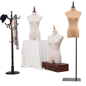 retail half body female fabric bust mannequin display torso dress form with stand for sale cheap