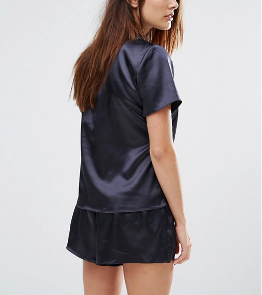 0896e454577 OEM Sexy Black Lace Trim Satin Sleep Romper Adult Onesie Lady Short Pajamas