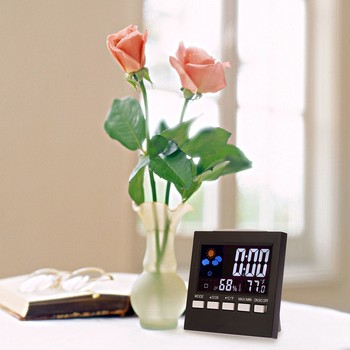 Multi-functional Digital Colorful LCD Thermometer Hygrometer Clock Alarm  Snooze Function Calendar Weather Forecast Display 7ded35d54ec62