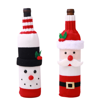 OEM cute Christmas Wine Bottle Cover Knit  Wine Bottle Dress Bottle Cover for Christmas Decorations
