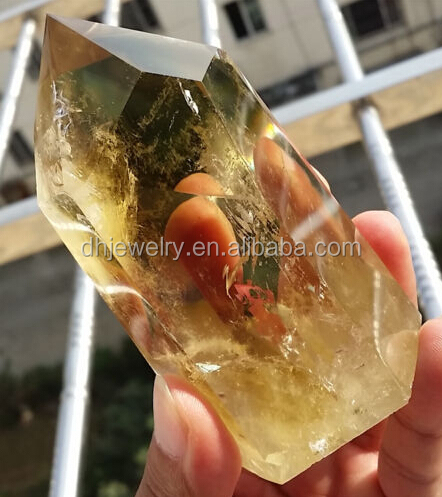 Natural Citrine quartz crystal wand <strong>point</strong> for healing stone