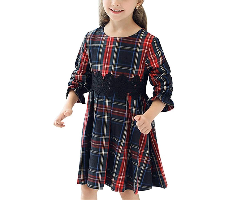 Nerefy Girls Plaid Dresses Long Sleeve Children Clothes Toddler Girls Kids Cotton Dress 3-10Y