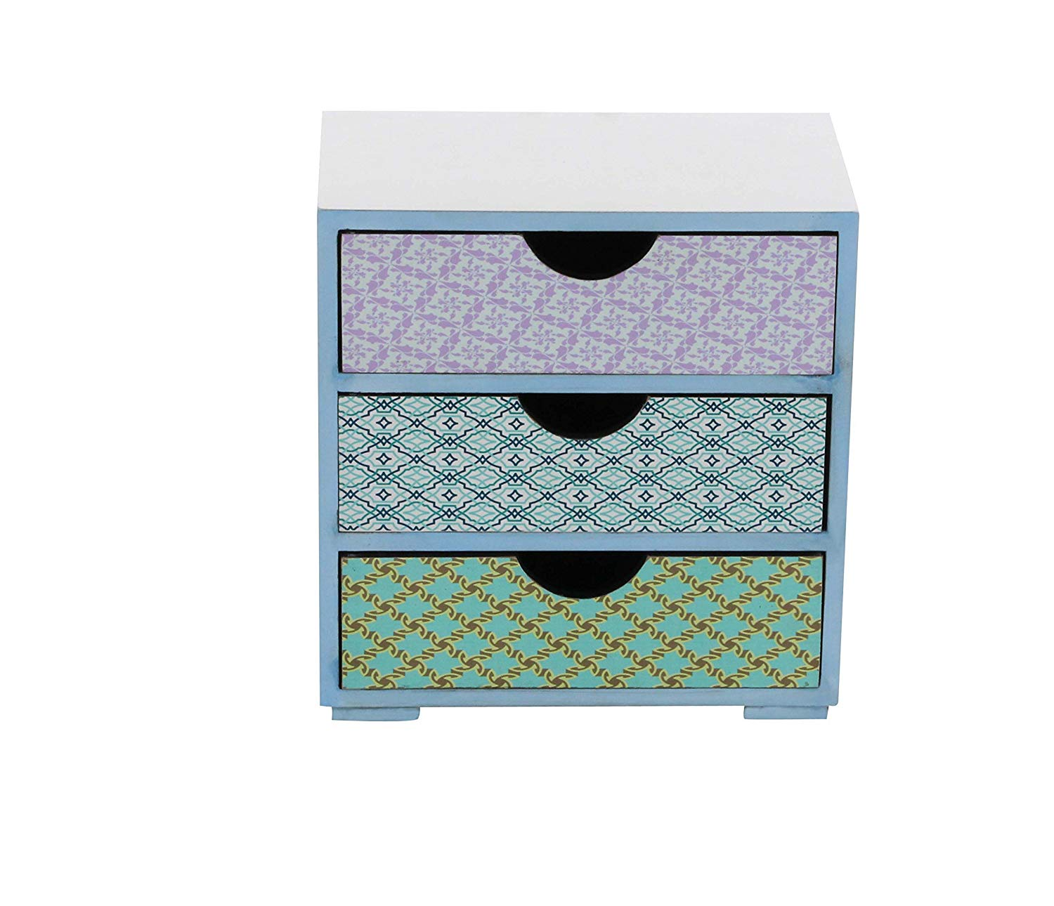 Deco 79 56706 Square Wooden Three Drawer Jewelry Chest, White/Blue/Purple/Cyan/Yellow/Brown
