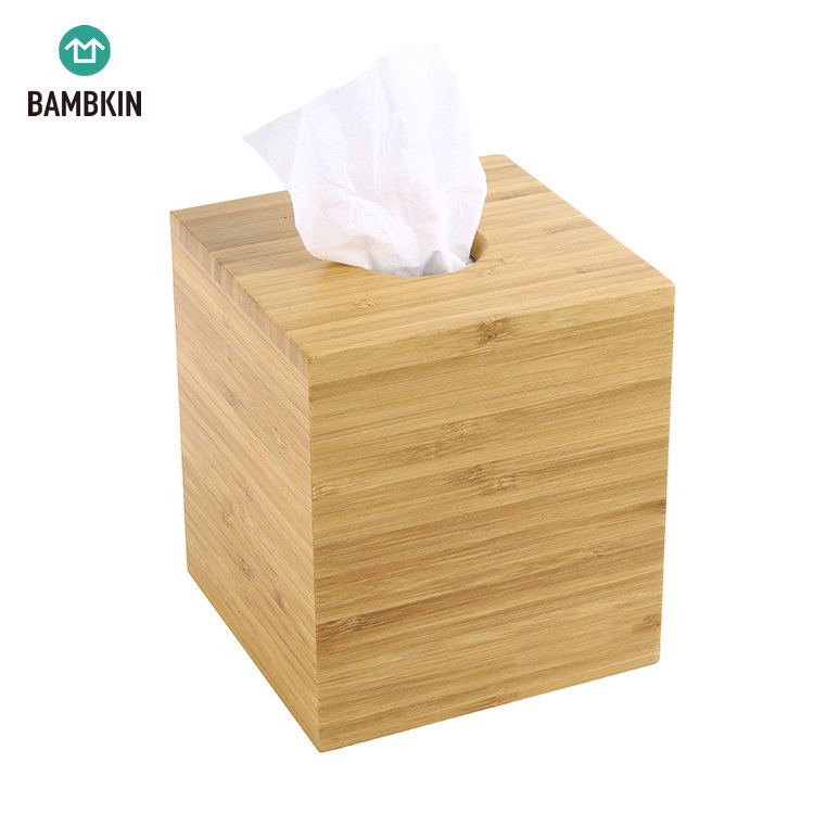 BAMBKIN Multi Function Desktop Stationery Box Tissue Organizer Storage Bamboo Box Bamboo Facial Tissue Box Cover Holder