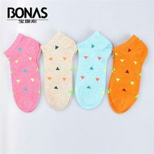Bonas best selling trendy style colorful breathable absorb sweat candy vivid color lovely cotton sock