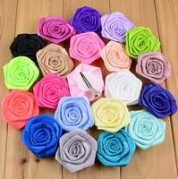 29 colors 2.4'' Satin Ribbon Rose Flowers Hair Clip For Kids Hair Accessories Fabric Flowers For Headbands Supplies