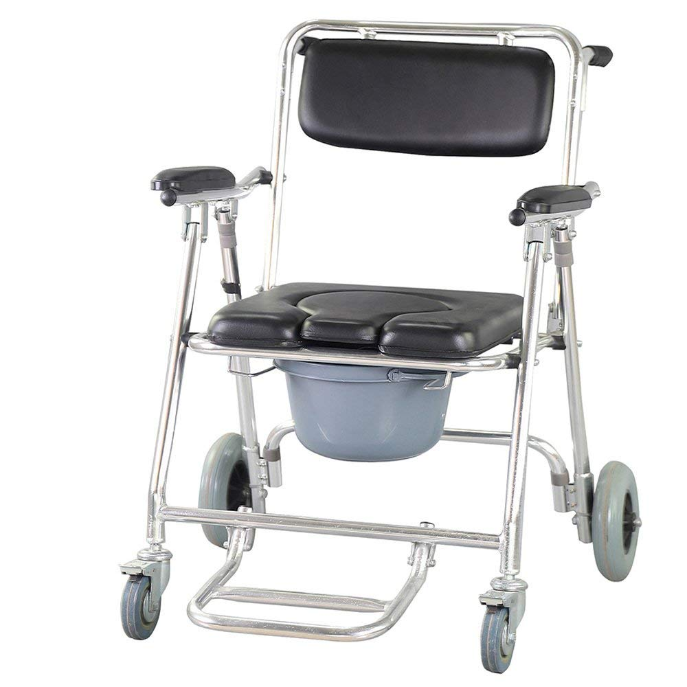 Get Quotations · Genmine Mobile Commode Wheelchair With Assistive Seat  Shower Toilet Chair with 4 Brakes and Padded Toilet