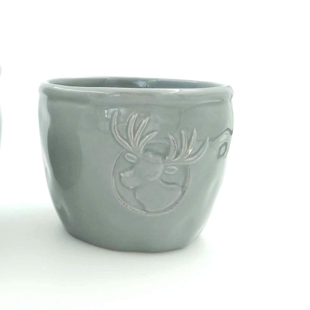 Better-way Ceramic Orchid Planter Modern Flower Pot Succulent Plant Container Decorative Indoor Pots Deer (Round 4.7 Inch)