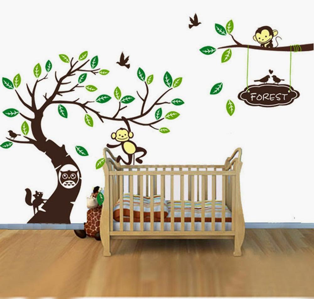 personalised name monkey tree wall art stickers kids nursery vinyl decals diy custom made. Black Bedroom Furniture Sets. Home Design Ideas