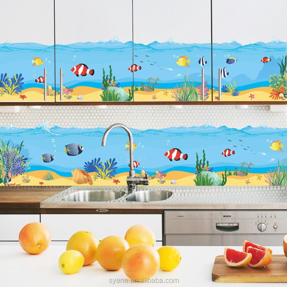 Syene Kunst Seaworld Fische Bad Wasserdichte Wand Fliesen Aufkleber ...