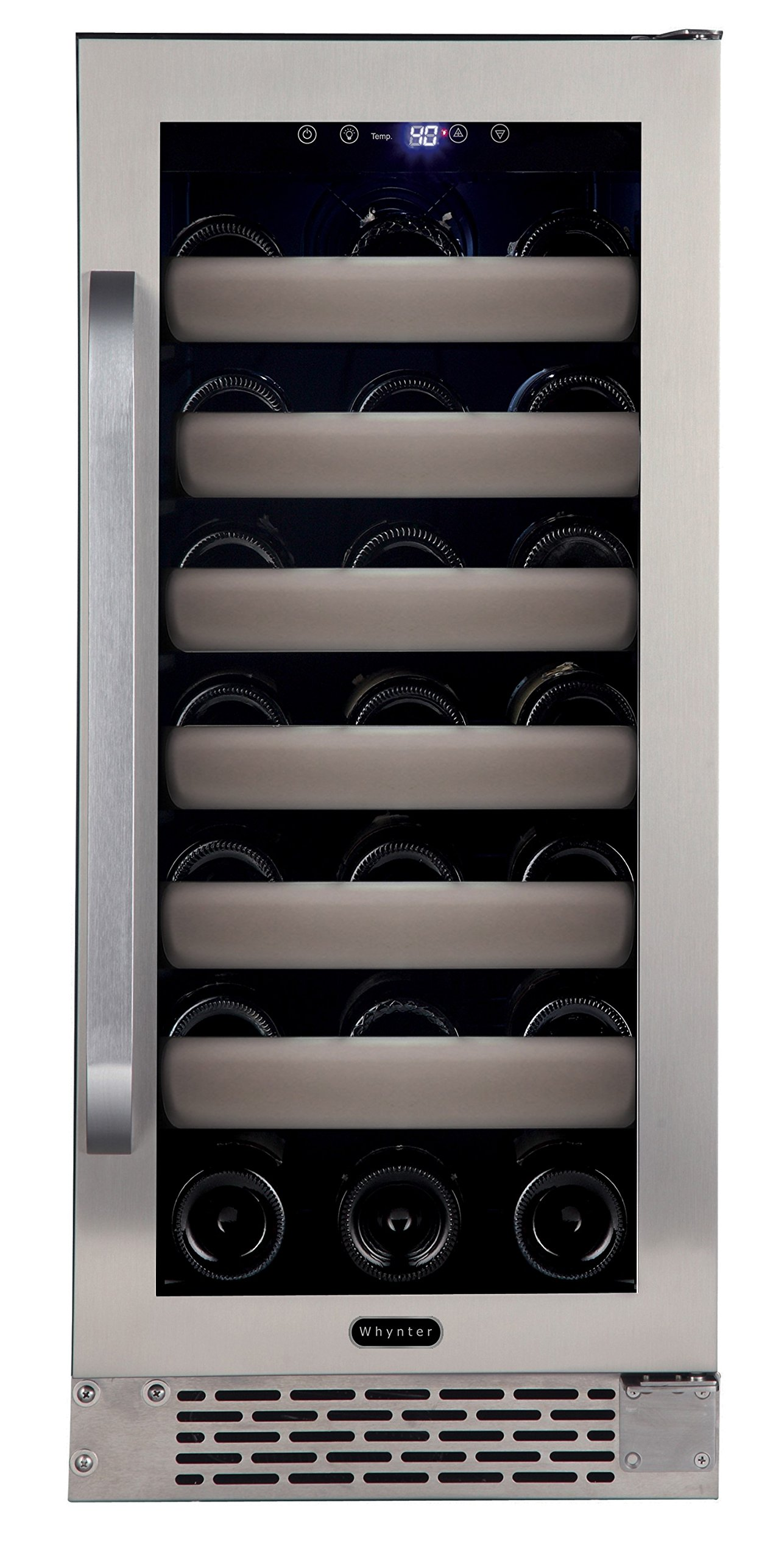 Whynter BWR-331SL Elite 33 Bottle Seamless Door Single Zone Built-in Wine Refrigerator, Stainless Steel/Black