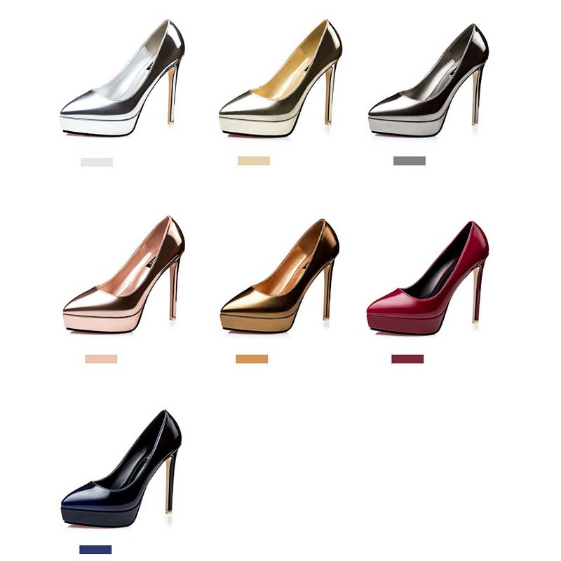 SAA40142 Sexy 12cm thin high heel 3cm platform pointed toe lady shoes