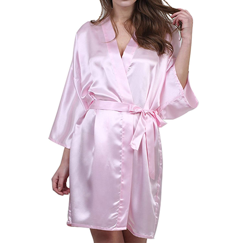 Dramaticbuying Women's Kimono Robe Short Bride Soft Solid Sexy Silky Satin Robes