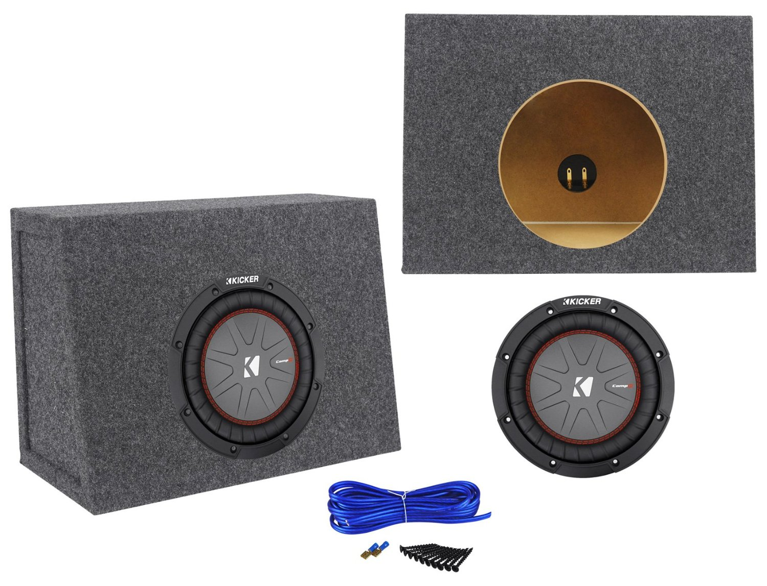 "Package: Kicker 43CWR82 8"" 600W Dual Voice Coil 2-Ohm Car Audio Sub+Single 8"" 0.44 Cu. Ft. 3/4"" MDF Shallow Sub Enclosure Box+Single Enclosure Wire Kit W/14 Gauge Speaker Wire+Screws+Spade Terminals"
