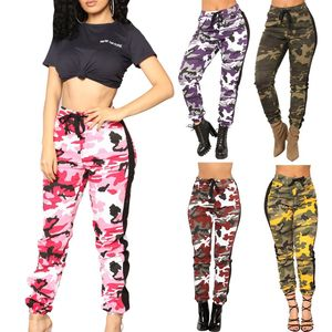 Women High Waist Camouflage Pants Pantalon Femme Trouser Ankle-Length Sweatpants Streetwear Camo Pants Y10723