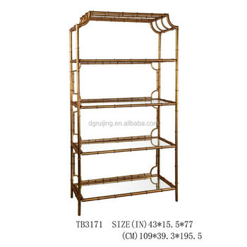 Metal Frame Bookshelf Bamboo For Decoration