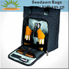 2 Persons Nylon Webbing Handles Tote Style Wine Bottles Carrier Bag with Full Foam Padded Tableware Front Zipper Pocket for Two