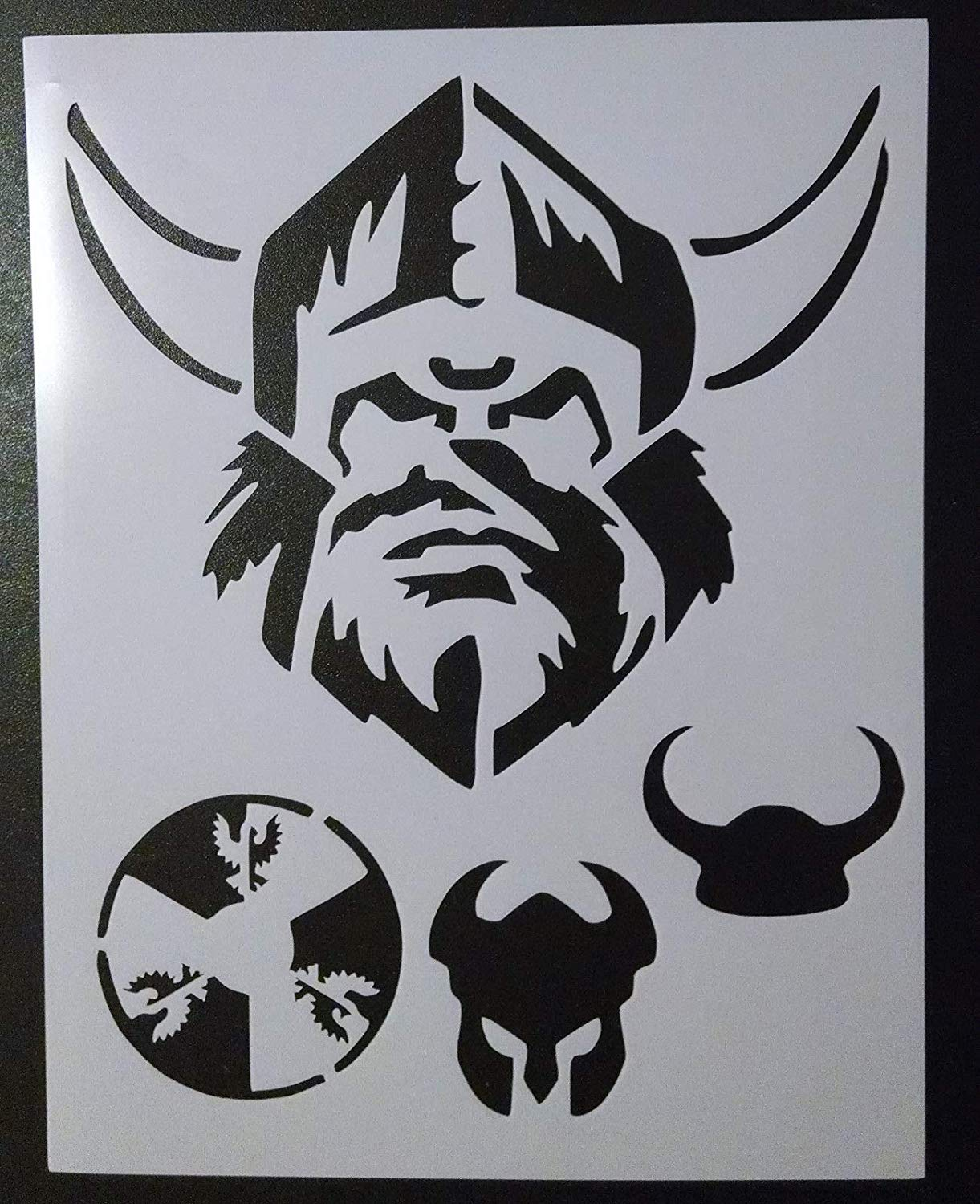 "OutletBestSelling Reusable Sturdy Viking Head Helmet Horns Shield 8.5"" x 11"" Stencil"