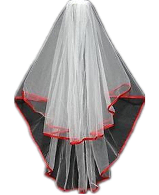 MLT 2 Layers White Ivory Bridal Veils Elbow Length Red Satin Edge