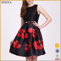 Fashion Dress 2016 Women Clothing High Quality Floral Patterns For Satin Dresses