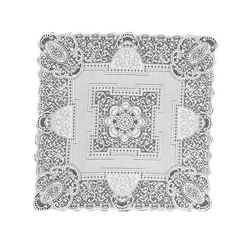 Heritage Lace Canterbury Classic 36-Inch by 36-Inch Table Topper, White