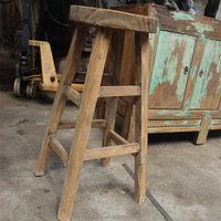 Chinese antique rustic wooden natural color stool