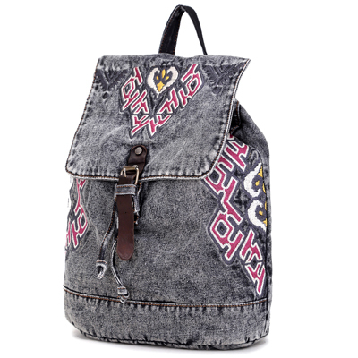 2015 Vintage washed lady canvas denim backpack wholesale