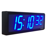 "6 Blue Digits, 4"" LED NTP PoE Network Wall Clock, 3"" SS"