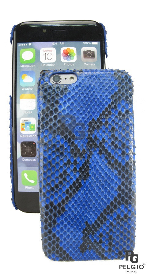 "PELGIO Genuine Python Skin Mobile Phone i6 4.7"" Hard Case Blue"