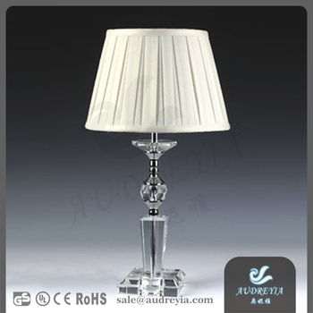 2017 New Design fabric shade crystal table lamps for bedroom