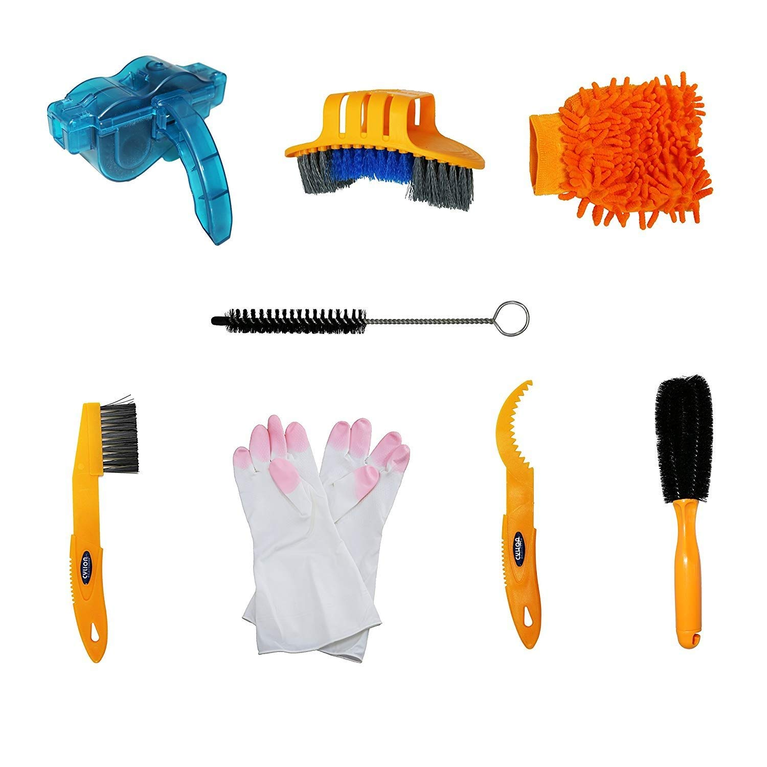 Bicycle Cleaning Tool Kits 8 Pieces Bike Cleaning Toll Bike Chain Cleaner Tool Wheel Cleaner Brush Compact Multipurpose Practical for Mountain, Road, City, Hybrid,BMX Bike and Folding Bike