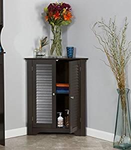 Corner Floor Cabinet with Brown Shutter Doors Corner Cabinet Room Décor Furniture Corner Wall Cabinet Corner Storage Cabinet Corner Bathroom Cabinet Corner Cabinet Shelf Corner Kitchen Cabinet